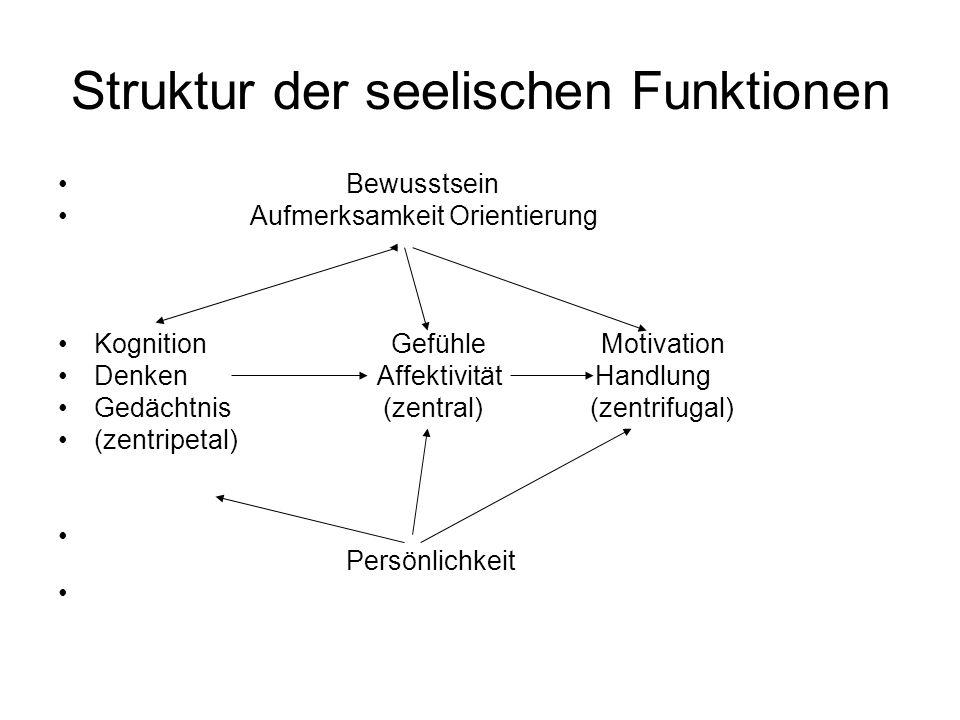 Struktur der seelischen Funktionen Bewusstsein Aufmerksamkeit Orientierung Kognition Gefühle Motivation Denken Affektivität Handlung Gedächtnis (zentral) (zentrifugal) (zentripetal) Persönlichkeit