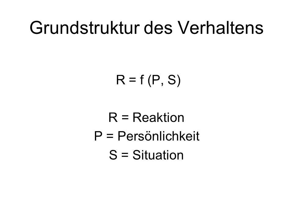 Grundstruktur des Verhaltens R = f (P, S) R = Reaktion P = Persönlichkeit S = Situation