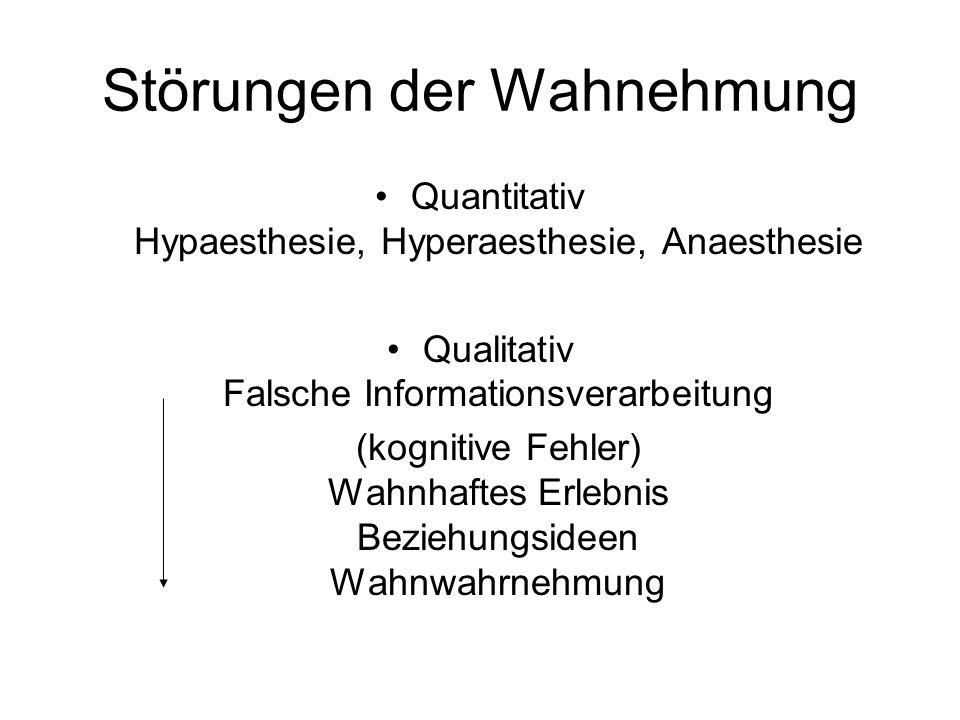 Störungen der Synthese der Informationen Zeitbewusstsein (Verlangsamung, Beschleunigung, déj à vu, jamais vu) Raumbewusstsein (Makropsie, Mikropsie,) Ich-Erleben (Depersonalisation) Umwelterleben (Derealisation) Körperschemastörung Anosognosie