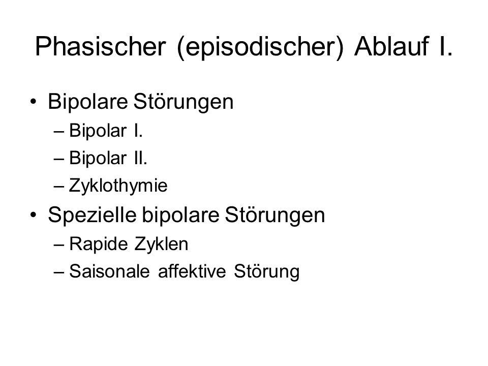 Phasischer (episodischer) Ablauf I.Bipolare Störungen –Bipolar I.