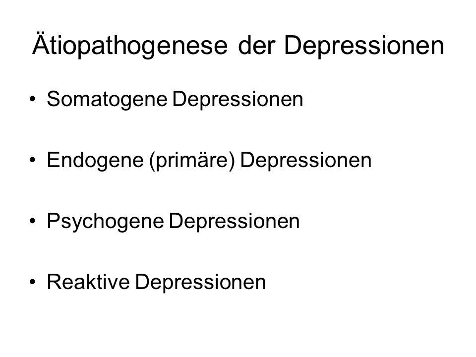 Ätiopathogenese der Depressionen Somatogene Depressionen Endogene (primäre) Depressionen Psychogene Depressionen Reaktive Depressionen