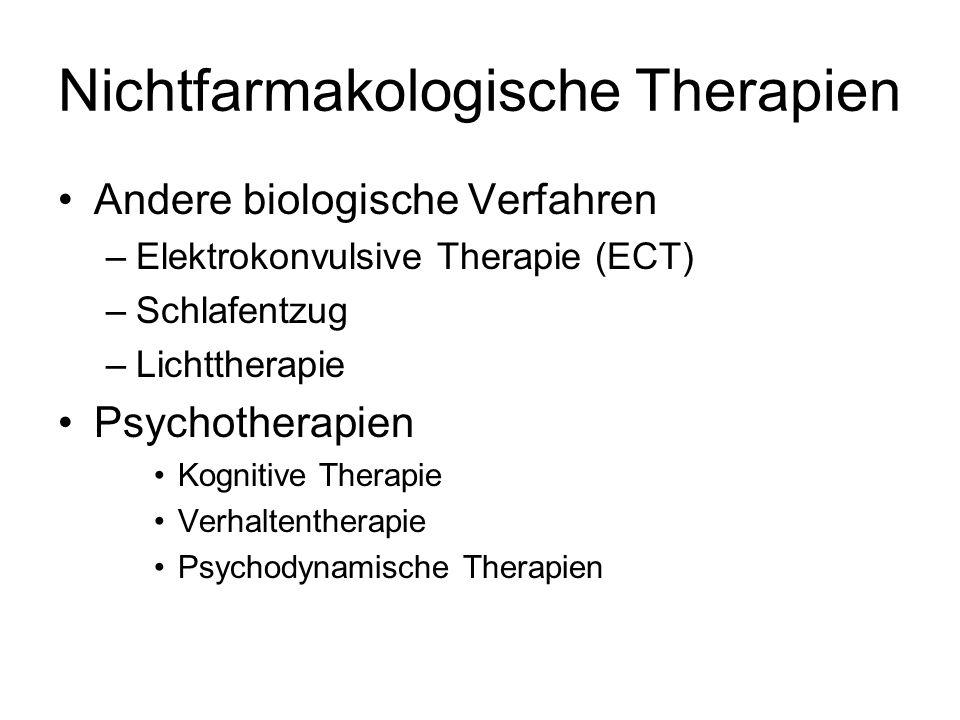 Nichtfarmakologische Therapien Andere biologische Verfahren –Elektrokonvulsive Therapie (ECT) –Schlafentzug –Lichttherapie Psychotherapien Kognitive Therapie Verhaltentherapie Psychodynamische Therapien