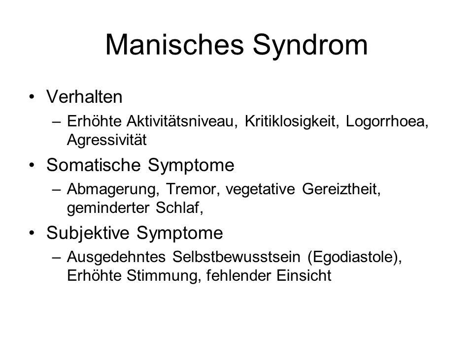 Manisches Syndrom Verhalten –Erhöhte Aktivitätsniveau, Kritiklosigkeit, Logorrhoea, Agressivität Somatische Symptome –Abmagerung, Tremor, vegetative Gereiztheit, geminderter Schlaf, Subjektive Symptome –Ausgedehntes Selbstbewusstsein (Egodiastole), Erhöhte Stimmung, fehlender Einsicht