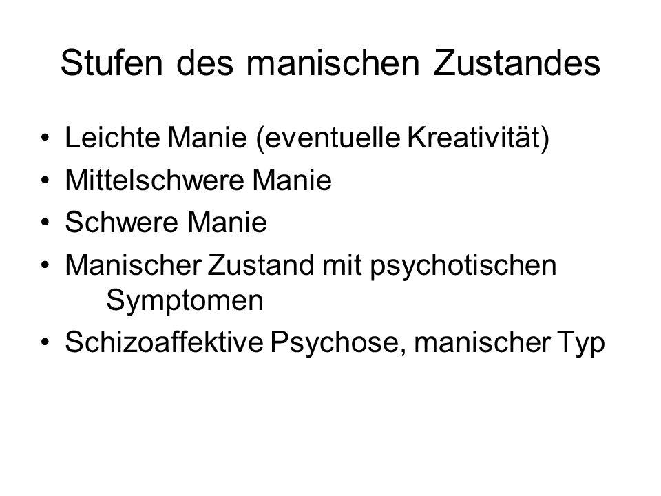 Stufen des manischen Zustandes Leichte Manie (eventuelle Kreativität) Mittelschwere Manie Schwere Manie Manischer Zustand mit psychotischen Symptomen Schizoaffektive Psychose, manischer Typ