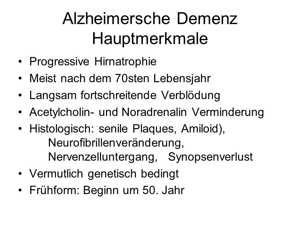 Alzheimersche Demenz Hauptmerkmale Progressive Hirnatrophie Meist nach dem 70sten Lebensjahr Langsam fortschreitende Verblödung Acetylcholin- und Nora