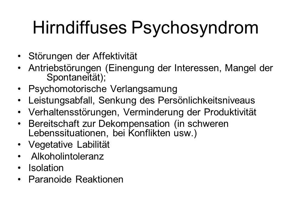 Hirndiffuses Psychosyndrom Störungen der Affektivität Antriebstörungen (Einengung der Interessen, Mangel der Spontaneität); Psychomotorische Verlangsa