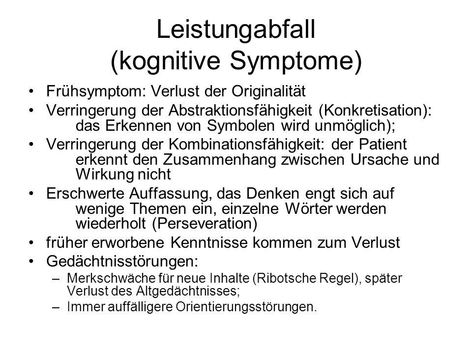 Weitere Demenz-Formen Jakob–Kreutzfeld-Krankheit: –Progressive Demenz mit Verhaltens- und Gedächtnisstörungen –Myoklonen, Sprachstörungen, Schluckstörungen –Rapider Verlauf (von 6 bis l8 Monaten) –Auslösefaktor ist ein Prion (eiweißähnlicher Stoff) –Pathologie: spongiöse Degeneration Dementia epileptica: –Häufige Anfälle –Epileptische Persönlichkeitsveränderung Dementia traumatica: –Folge eines schweren Hirntraumas –Bei Boxern entwickelt sich oft die Dementia pugilistica