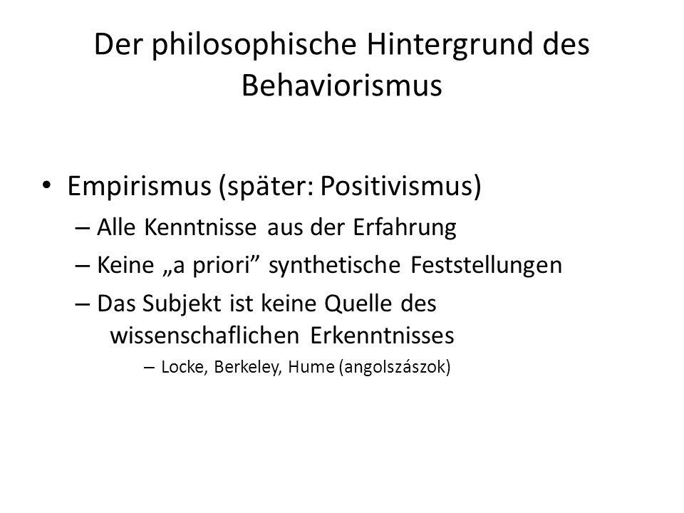 Der philosophische Hintergrund des Behaviorismus Empirismus (später: Positivismus) – Alle Kenntnisse aus der Erfahrung – Keine a priori synthetische F