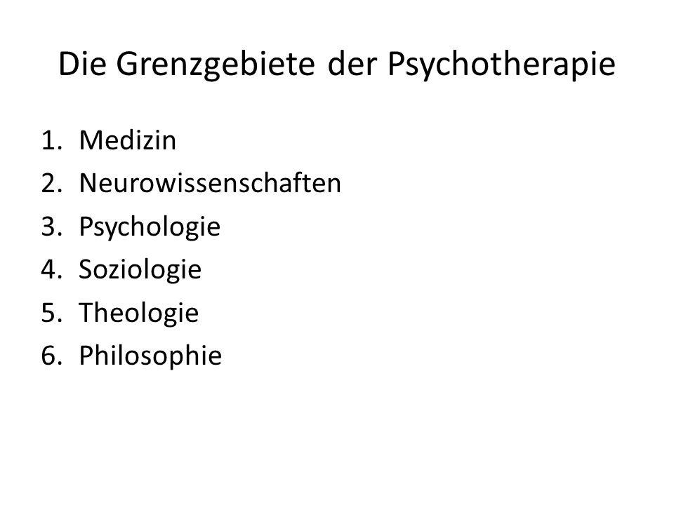 Die Grenzgebiete der Psychotherapie 1.Medizin 2.Neurowissenschaften 3.Psychologie 4.Soziologie 5.Theologie 6.Philosophie