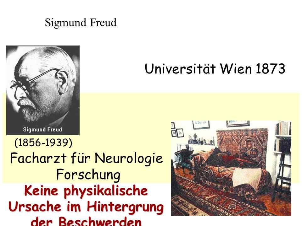 Sigmund Freud (1856-1939) Universität Wien 1873 Facharzt für Neurologie Forschung Keine physikalische Ursache im Hintergrung der Beschwerden