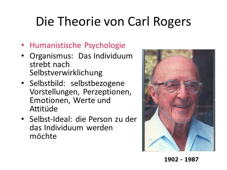 Die Theorie von Carl Rogers Humanistische Psychologie Organismus: Das Individuum strebt nach Selbstverwirklichung Selbstbild: selbstbezogene Vorstellu