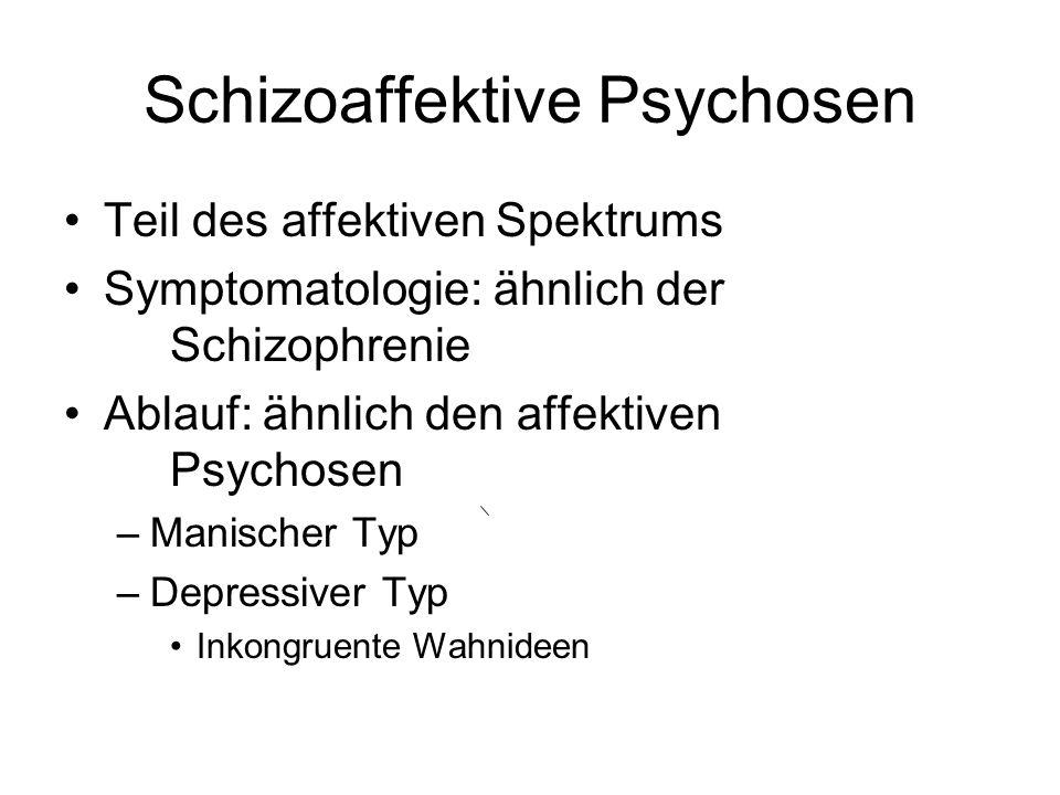 Schizoaffektive Psychosen Teil des affektiven Spektrums Symptomatologie: ähnlich der Schizophrenie Ablauf: ähnlich den affektiven Psychosen –Manischer
