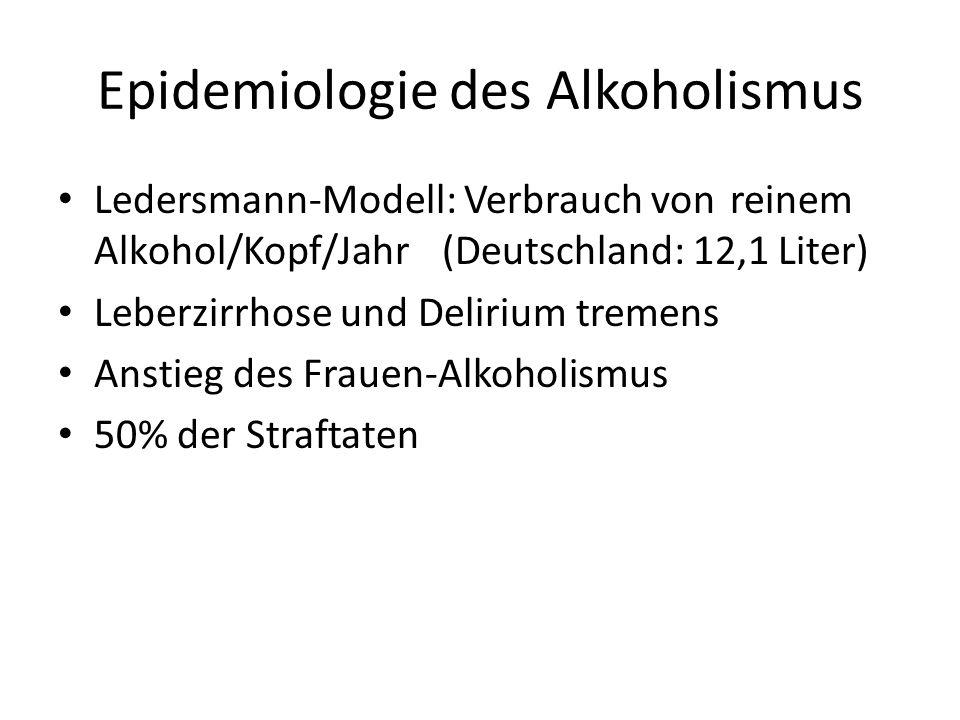 Epidemiologie des Alkoholismus Ledersmann-Modell: Verbrauch von reinem Alkohol/Kopf/Jahr (Deutschland: 12,1 Liter) Leberzirrhose und Delirium tremens
