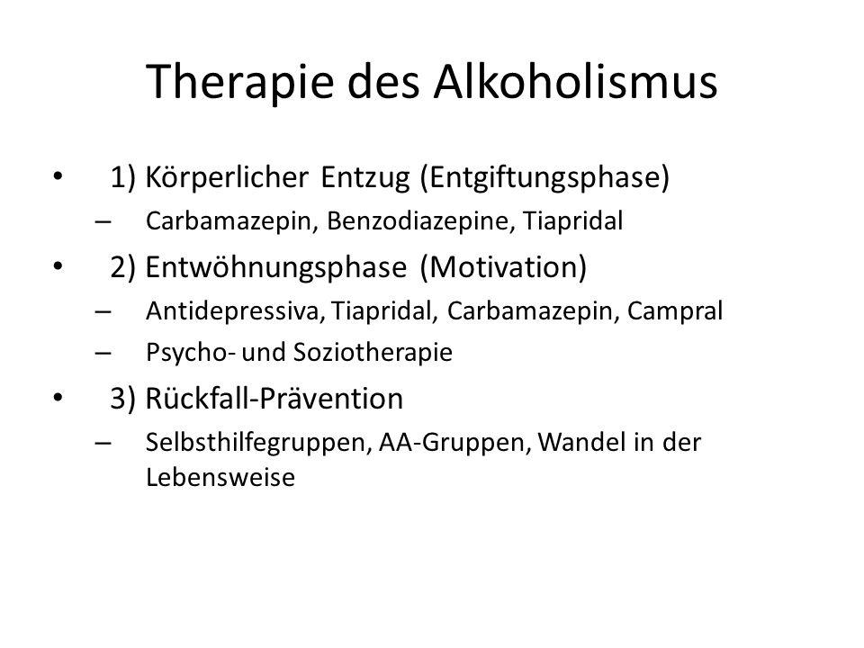 Therapie des Alkoholismus 1) Körperlicher Entzug (Entgiftungsphase) – Carbamazepin, Benzodiazepine, Tiapridal 2) Entwöhnungsphase (Motivation) – Antid