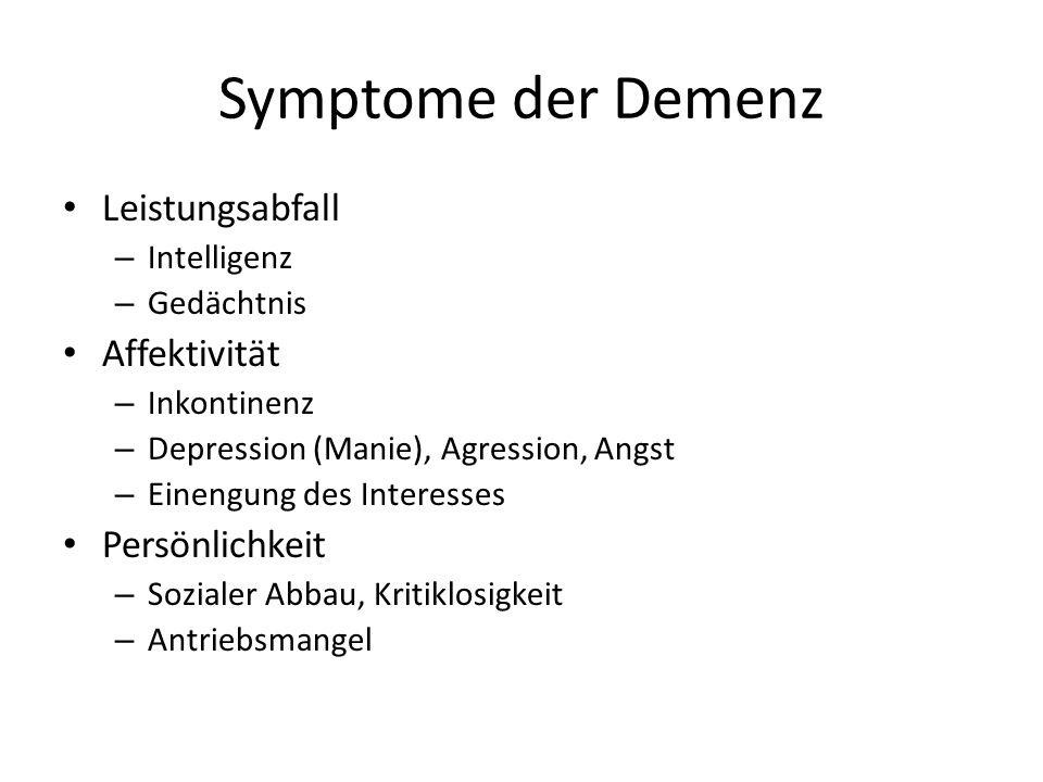 Symptome der Demenz Leistungsabfall – Intelligenz – Gedächtnis Affektivität – Inkontinenz – Depression (Manie), Agression, Angst – Einengung des Inter
