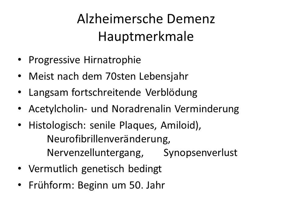 Vaskuläre (Multiinfarkt-)Demenz Lakunäre Demenz, verursacht von Kreislaufsstörungen der kleinen Hirngefäße Symptomatik unterschiedlich nach dem Sitz der Störungen Neurologische Symptome Fluktuierender Ablauf Persönlichkeit bleibt lang erhalten Subjektive Beschwerden Depressionen