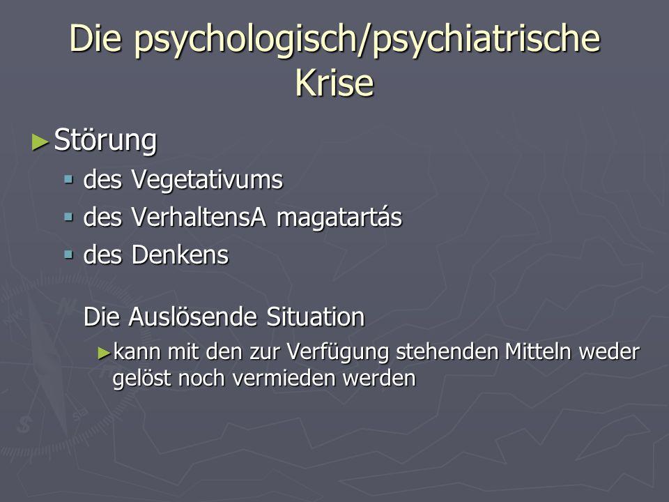 Die psychologisch/psychiatrische Krise Störung Störung des Vegetativums des Vegetativums des VerhaltensA magatartás des VerhaltensA magatartás des Den