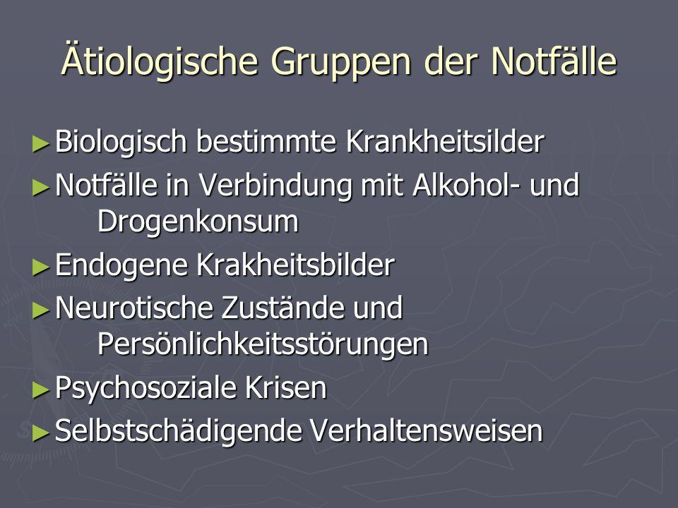 Ätiologische Gruppen der Notfälle Biologisch bestimmte Krankheitsilder Biologisch bestimmte Krankheitsilder Notfälle in Verbindung mit Alkohol- und Dr