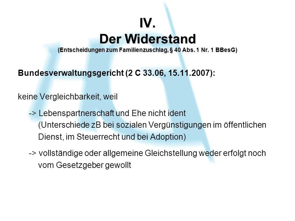 IV. Der Widerstand (Entscheidungen zum Familienzuschlag, § 40 Abs.