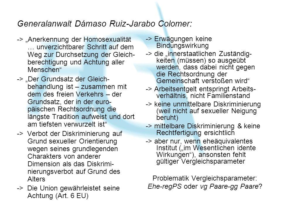 Generalanwalt Dámaso Ruiz-Jarabo Colomer: -> Anerkennung der Homosexualität … unverzichtbarer Schritt auf dem Weg zur Durchsetzung der Gleich- berechtigung und Achtung aller Menschen -> Der Grundsatz der Gleich- behandlung ist – zusammen mit dem des freien Verkehrs – der Grundsatz, der in der euro- päischen Rechtsordnung die längste Tradition aufweist und dort am tiefsten verwurzelt ist -> Verbot der Diskriminierung auf Grund sexueller Orientierung wegen seines grundlegenden Charakters von anderer Dimension als das Diskrimi- nierungsverbot auf Grund des Alters -> Die Union gewährleistet seine Achtung (Art.
