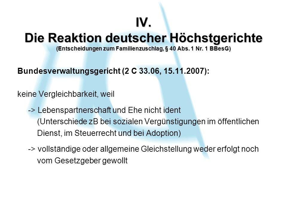 IV. Die Reaktion deutscher Höchstgerichte (Entscheidungen zum Familienzuschlag, § 40 Abs.