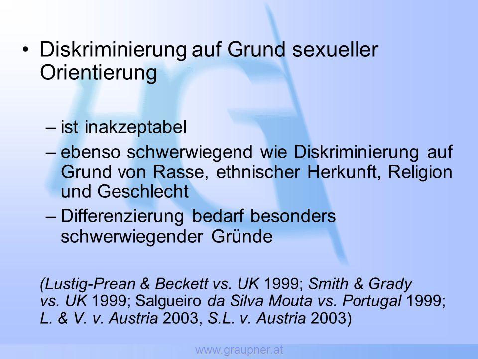 Tadao Maruko gegen Versorgungsanstalt der deutschen Bühnen (VddB) (C-267/06) Hans Hettinger: -> Kostümbildner -> 45 Jahre Mitglied der VddB -> 45 Jahre Beiträge bezahlt wie seine heterosexuellen KollegInnen -> 13 Jahre Partnerschaft mit Hr.