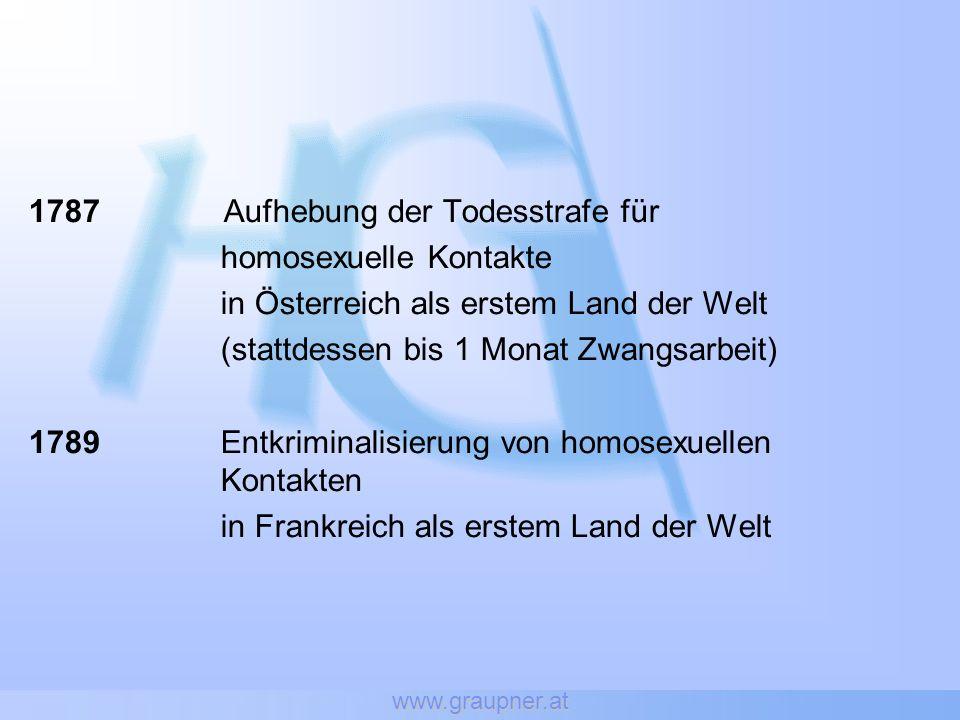 www.graupner.at 1787 Aufhebung der Todesstrafe für homosexuelle Kontakte in Österreich als erstem Land der Welt (stattdessen bis 1 Monat Zwangsarbeit)