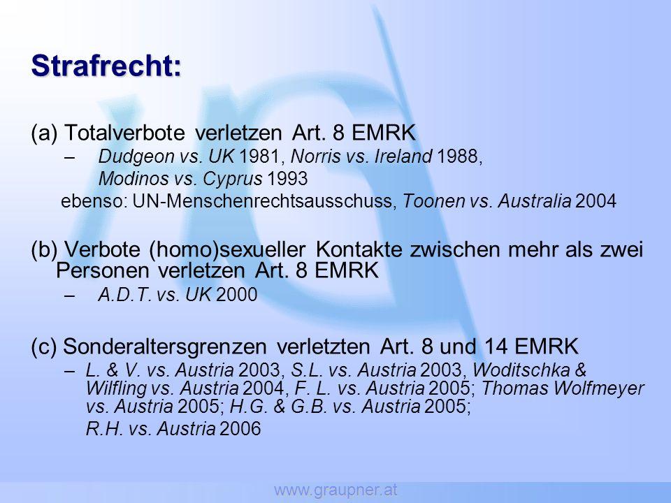 www.graupner.at Strafrecht: (a) Totalverbote verletzen Art. 8 EMRK –Dudgeon vs. UK 1981, Norris vs. Ireland 1988, Modinos vs. Cyprus 1993 ebenso: UN-M