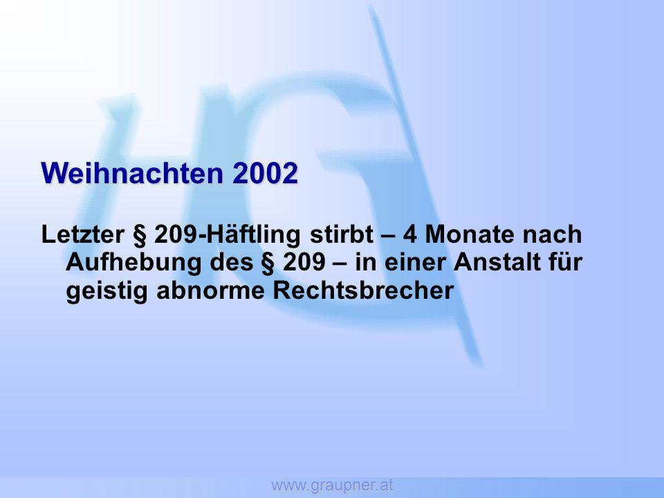 www.graupner.at Weihnachten 2002 Letzter § 209-Häftling stirbt – 4 Monate nach Aufhebung des § 209 – in einer Anstalt für geistig abnorme Rechtsbreche