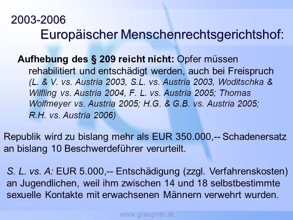 www.graupner.at 2003-2006 Europäischer Menschenrechtsgerichtshof: Aufhebung des § 209 reicht nicht: Opfer müssen rehabilitiert und entschädigt werden,