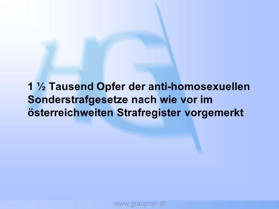 www.graupner.at 1 ½ Tausend Opfer der anti-homosexuellen Sonderstrafgesetze nach wie vor im österreichweiten Strafregister vorgemerkt
