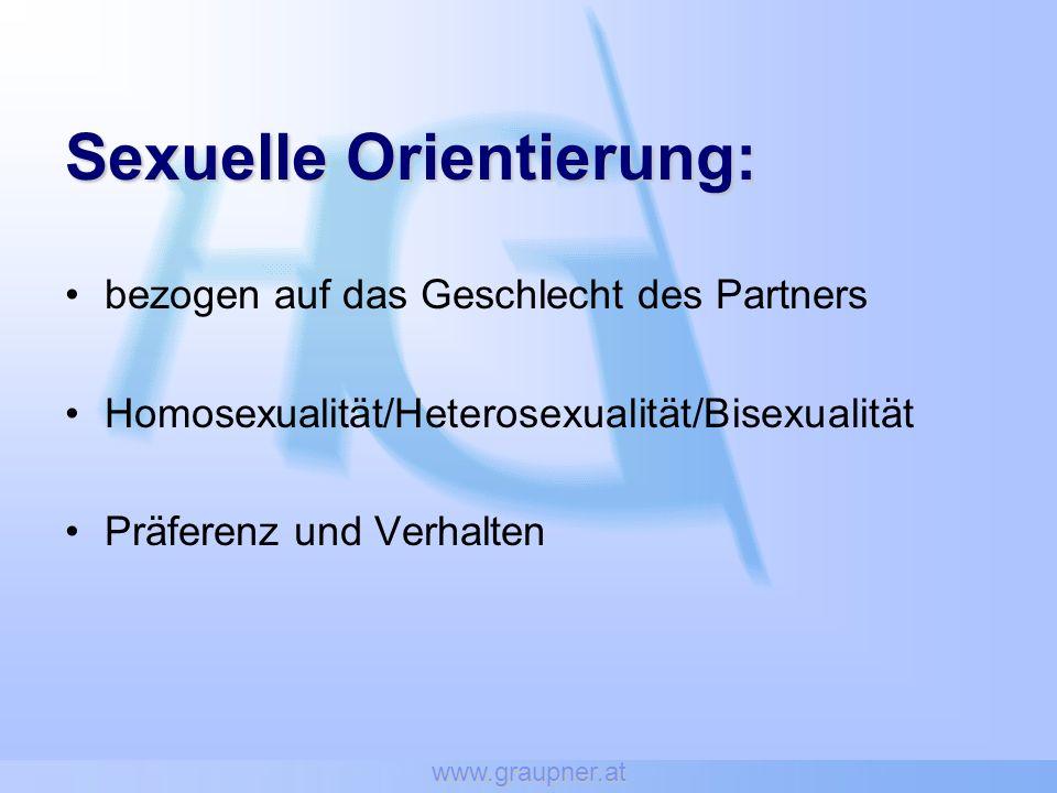 www.graupner.at Sexuelle Orientierung: bezogen auf das Geschlecht des Partners Homosexualität/Heterosexualität/Bisexualität Präferenz und Verhalten