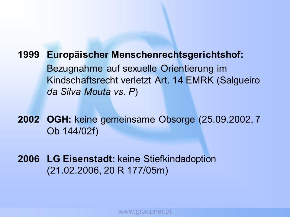 www.graupner.at 1999Europäischer Menschenrechtsgerichtshof: Bezugnahme auf sexuelle Orientierung im Kindschaftsrecht verletzt Art. 14 EMRK (Salgueiro