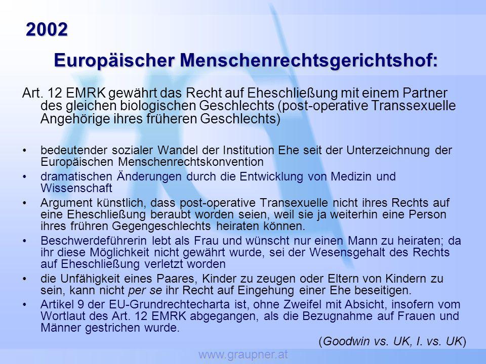 www.graupner.at 2002 Europäischer Menschenrechtsgerichtshof: 2002 Europäischer Menschenrechtsgerichtshof: Art. 12 EMRK gewährt das Recht auf Eheschlie