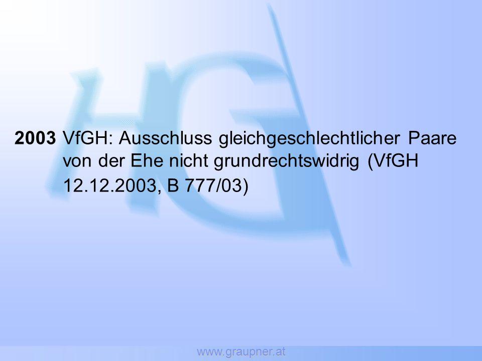 www.graupner.at 2003VfGH: Ausschluss gleichgeschlechtlicher Paare von der Ehe nicht grundrechtswidrig (VfGH 12.12.2003, B 777/03)