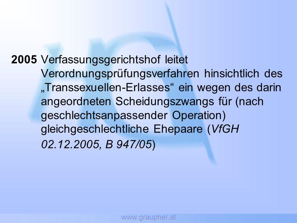 www.graupner.at 2005Verfassungsgerichtshof leitet Verordnungsprüfungsverfahren hinsichtlich des Transsexuellen-Erlasses ein wegen des darin angeordnet