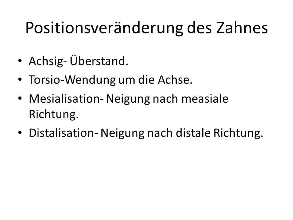 Positionsveränderung des Zahnes Achsig- Überstand. Torsio-Wendung um die Achse. Mesialisation- Neigung nach measiale Richtung. Distalisation- Neigung