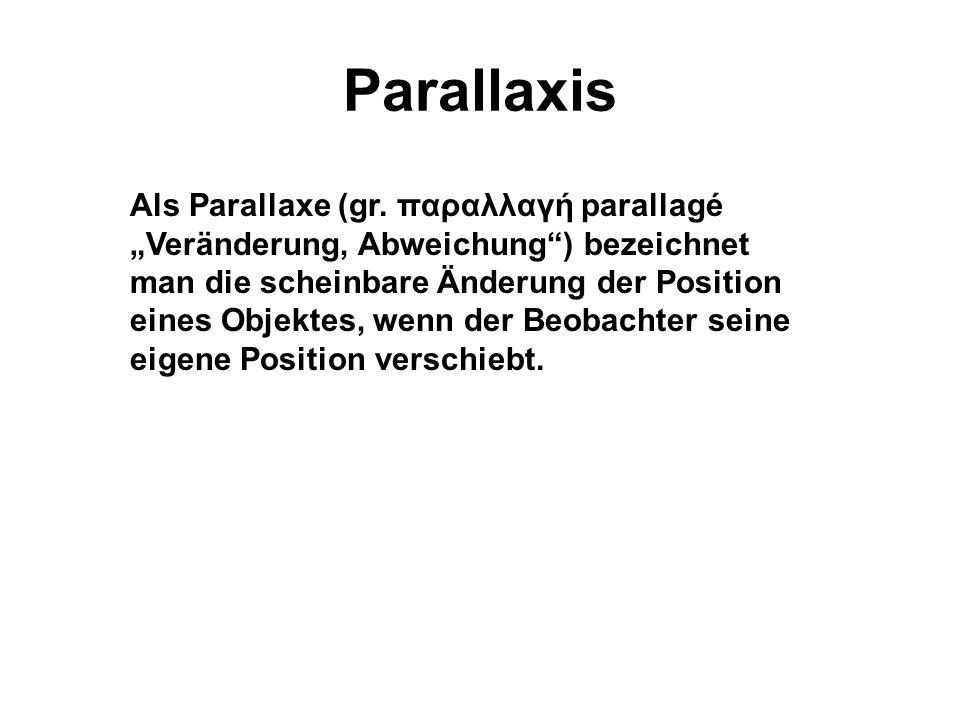 Parallaxis Als Parallaxe (gr.