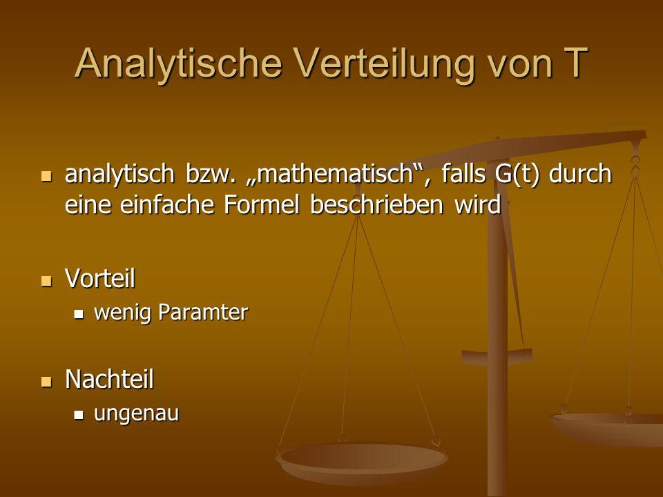 Analytische Verteilung von T analytisch bzw. mathematisch, falls G(t) durch eine einfache Formel beschrieben wird analytisch bzw. mathematisch, falls