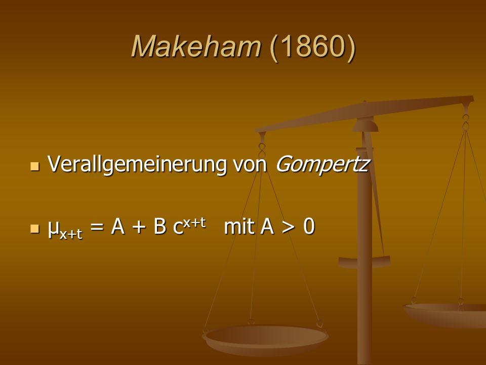 Makeham (1860) Verallgemeinerung von Gompertz Verallgemeinerung von Gompertz μ x+t = A + B c x+t mit A > 0 μ x+t = A + B c x+t mit A > 0