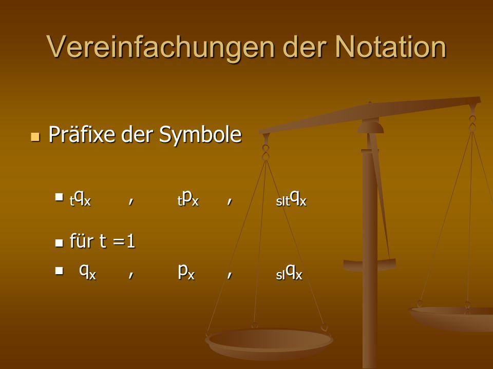 Vereinfachungen der Notation Präfixe der Symbole Präfixe der Symbole t q x, t p x, s I t q x t q x, t p x, s I t q x für t =1 für t =1 q x, p x, s I q x q x, p x, s I q x