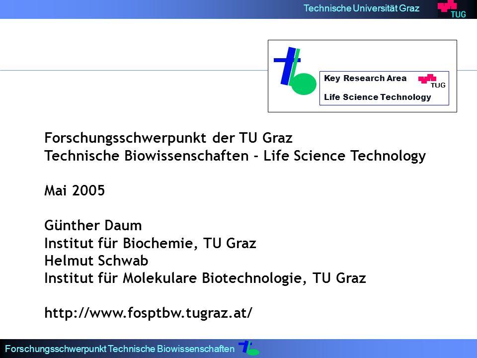 Technische Universität Graz Forschungsschwerpunkt Technische Biowissenschaften Key Research Area Life Science Technology Forschungsschwerpunkt der TU