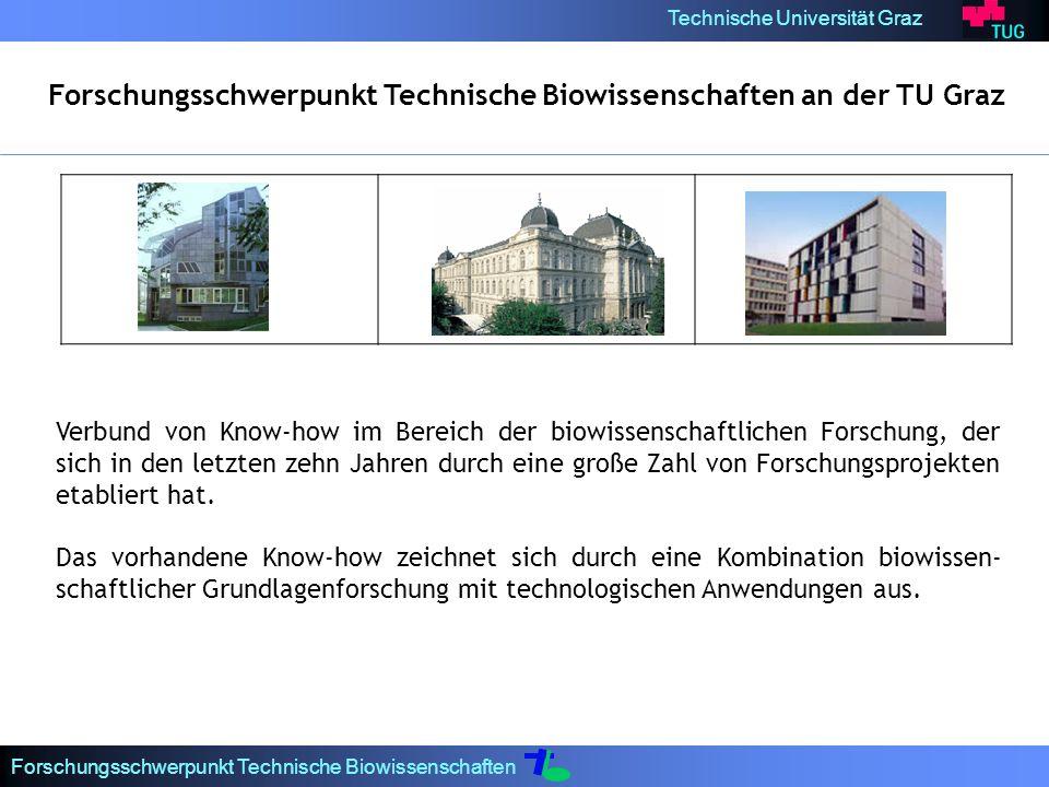 Technische Universität Graz Forschungsschwerpunkt Technische Biowissenschaften Forschungsschwerpunkt Technische Biowissenschaften an der TU Graz Verbund von Know-how im Bereich der biowissenschaftlichen Forschung, der sich in den letzten zehn Jahren durch eine große Zahl von Forschungsprojekten etabliert hat.