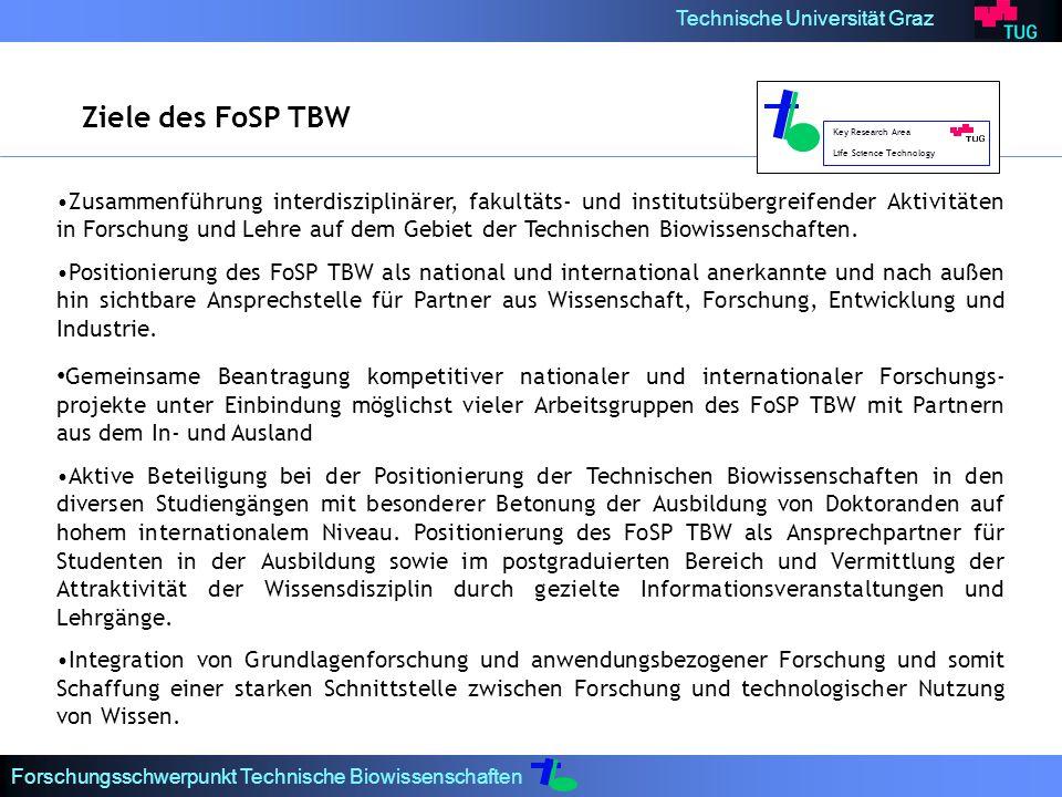 Technische Universität Graz Forschungsschwerpunkt Technische Biowissenschaften Zusammenführung interdisziplinärer, fakultäts- und institutsübergreifen