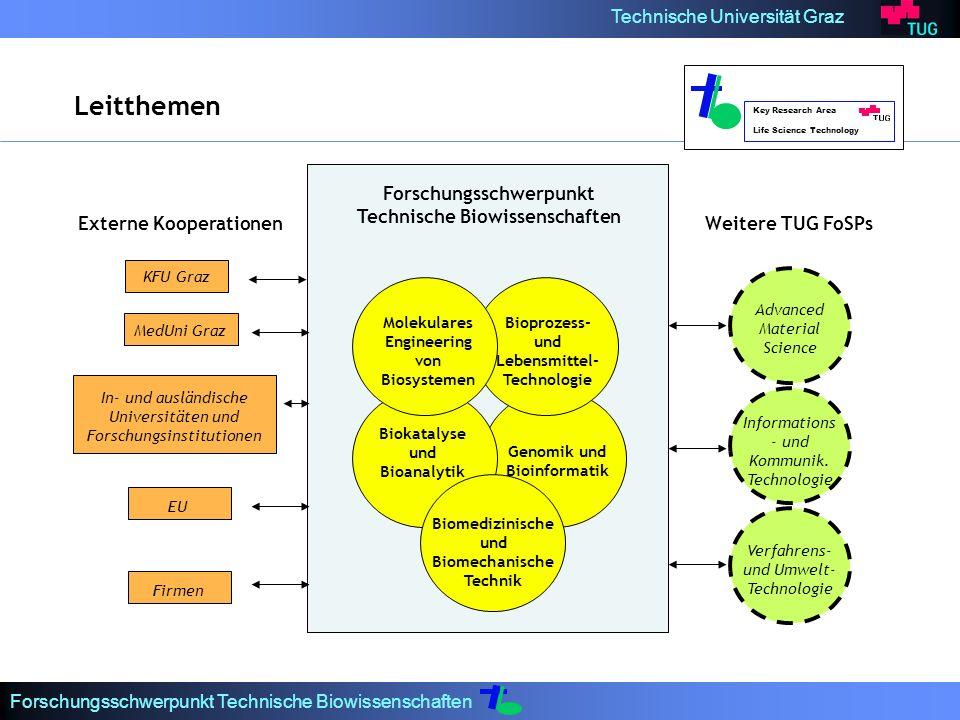 Technische Universität Graz Forschungsschwerpunkt Technische Biowissenschaften Molekulares Engineering von Biosystemen Bioprozess- und Lebensmittel- Technologie Biokatalyse und Bioanalytik Genomik und Bioinformatik Biomedizinische und Biomechanische Technik Advanced Material Science Informations - und Kommunik.