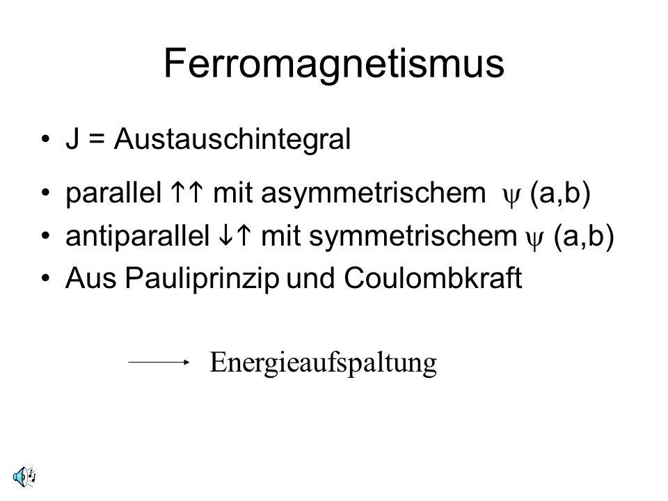 Ferromagnetismus J = Austauschintegral parallel mit asymmetrischem (a,b) antiparallel mit symmetrischem (a,b) Aus Pauliprinzip und Coulombkraft Energi