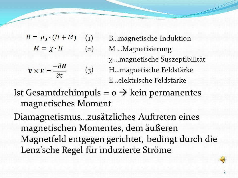 Allgemeines Grundsätzlich ist jeder Stoff diamagnetisch Schwacher Effekt, durch andere überlagert Auftreten eines zusätzlichen magnetischen Momentes e