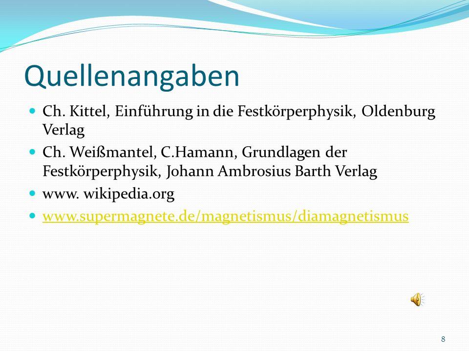 Quellenangaben Ch.Kittel, Einführung in die Festkörperphysik, Oldenburg Verlag Ch.