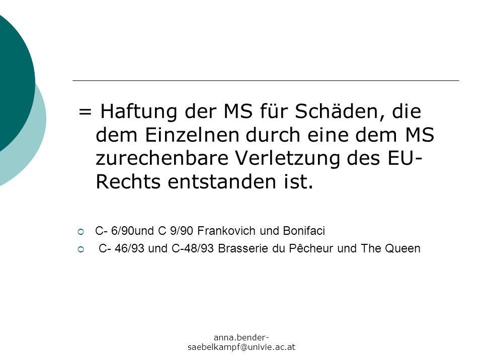 anna.bender- saebelkampf@univie.ac.at = Haftung der MS für Schäden, die dem Einzelnen durch eine dem MS zurechenbare Verletzung des EU- Rechts entstan