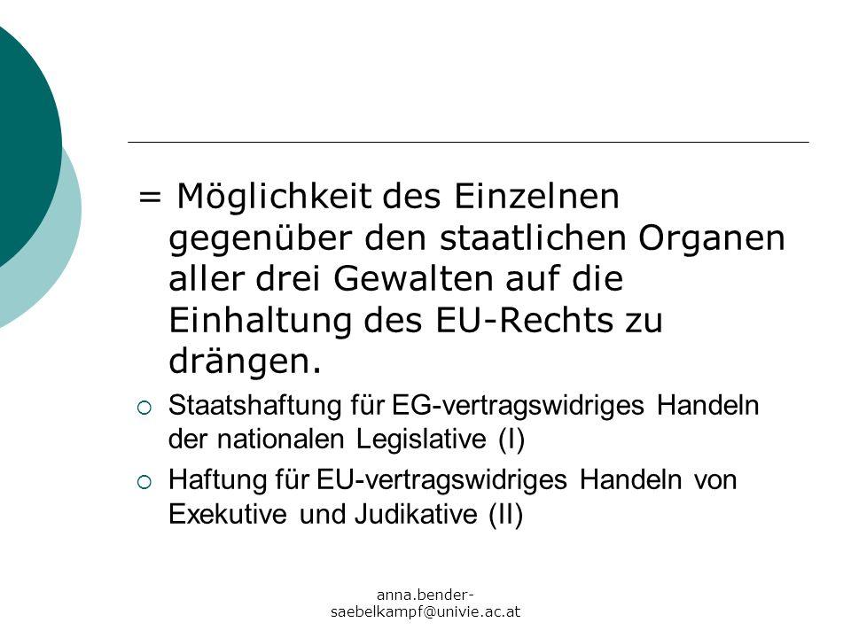 anna.bender- saebelkampf@univie.ac.at = Möglichkeit des Einzelnen gegenüber den staatlichen Organen aller drei Gewalten auf die Einhaltung des EU-Rech